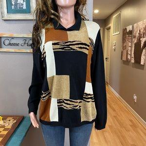 Black tan color-block animal print sweater